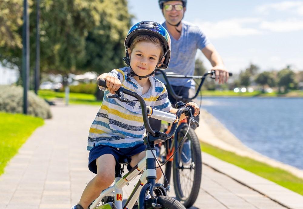 Child riding a bike in Boulder